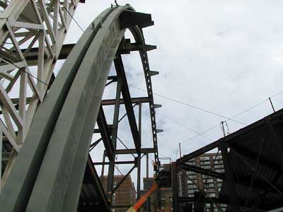 Construction photos of kimmel center arch for Barrel roof trusses
