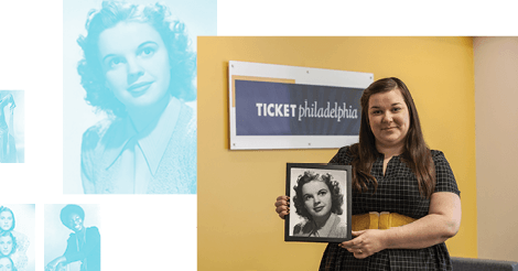 Danielle Rose holding portrait of Judy Garland