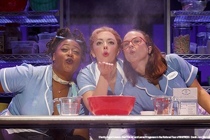 Charity Angel Dawson, Desi Oakley and Lenne Klingaman in the National Tour of WAITRESS  Credit Joan Marcus