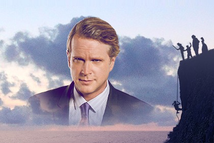 Cary Elwes' face image with cliff with four people on top