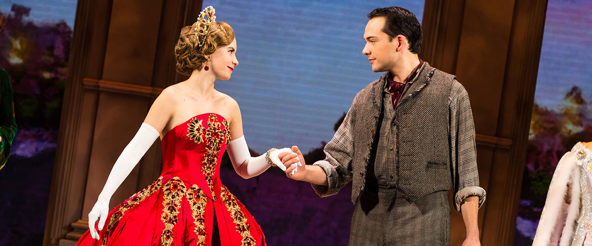 Lila Coogan (Anya) and Stephen Brower (Dmitry) in the National Tour of ANASTASIA. © Photo by Evan Zimmerman, MurphyMade.