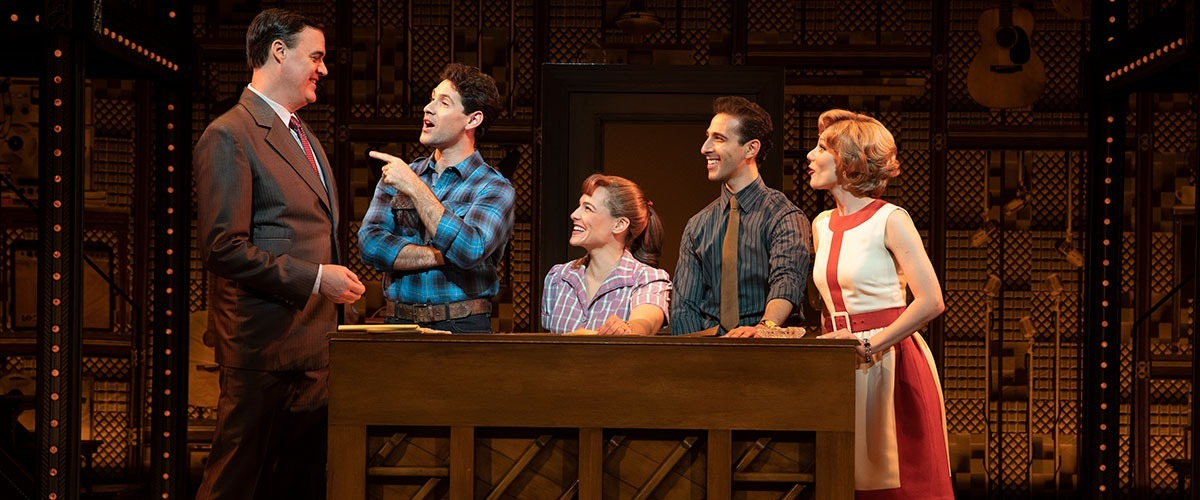 "Beautiful The Carole King Musical - 1650 Broadway. (l to r) James Clow (""Don Kirshner""), Dylan S. Wallach (""Gerry Goffin""), Sarah Bockel (""Carole King""), Jacob Heimer (""Barry Mann"") and Alison Whitehurst (""Cynthia Weil"") © Joan Marucs"