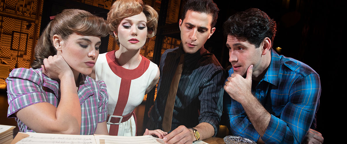 "Beautiful The Carole King Musical - Four Friends. (l to r) Sarah Bockel (""Carole King""), Alison Whitehurst (""Cynthia Weil""), Jacob Heimer (""Barry Mann"") and Dylan S. Wallach (""Gerry Goffin""). © Joan Marcus"