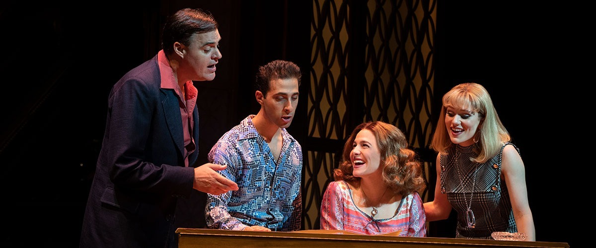"Beautiful The Carole King Musical - You've Got a Friend. (l to r) James Clow (""Don Kirshner""), Jacob Heimer (""Barry Mann""), Sarah Bockel (""Carole King"") and Alison Whitehurst (""Cynthia Weil""). © Joan Marcus"