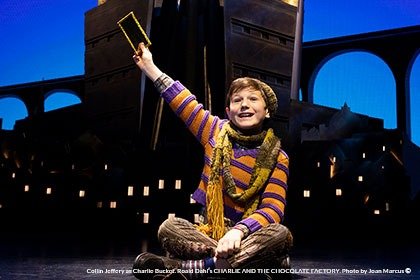 Collin Jeffery as Charlie Bucket. Roald Dahl's CHARLIE AND THE CHOCOLATE FACTORY. Photo by Joan Marcus ©