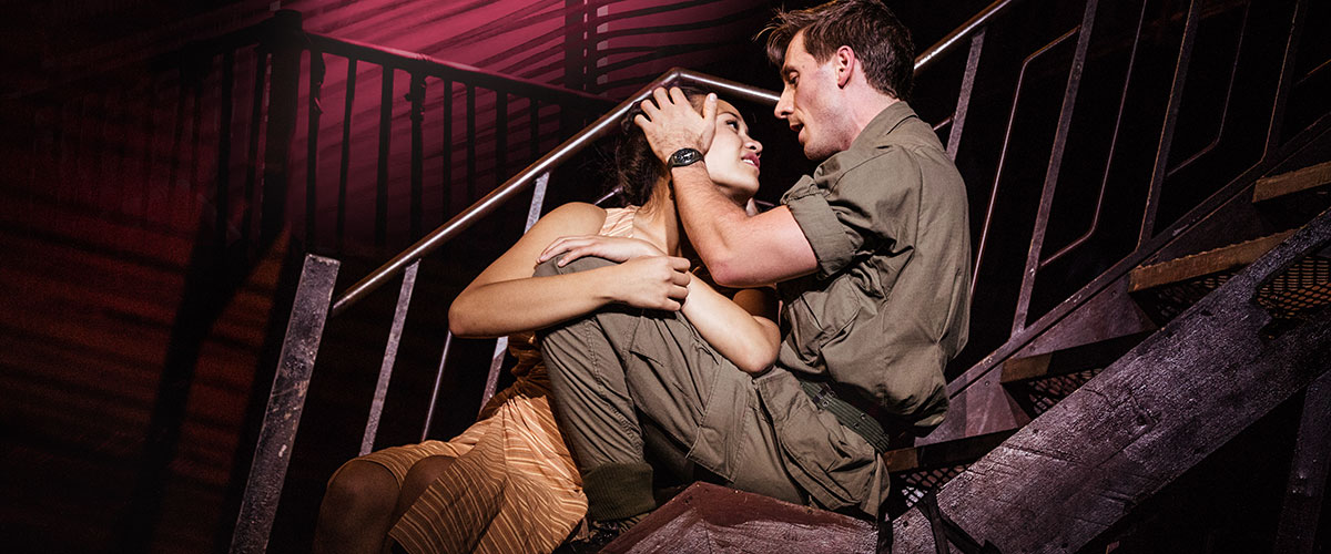 "Emily Bautista as 'Kim' and Anthony Festa as 'Chris' in the North American Tour of MISS SAIGON singing ""Sun and Moon"" © Matthew Murphy"