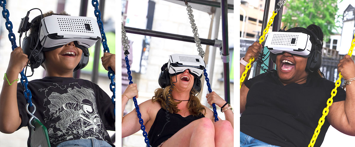 Various shots of people using the VR swing