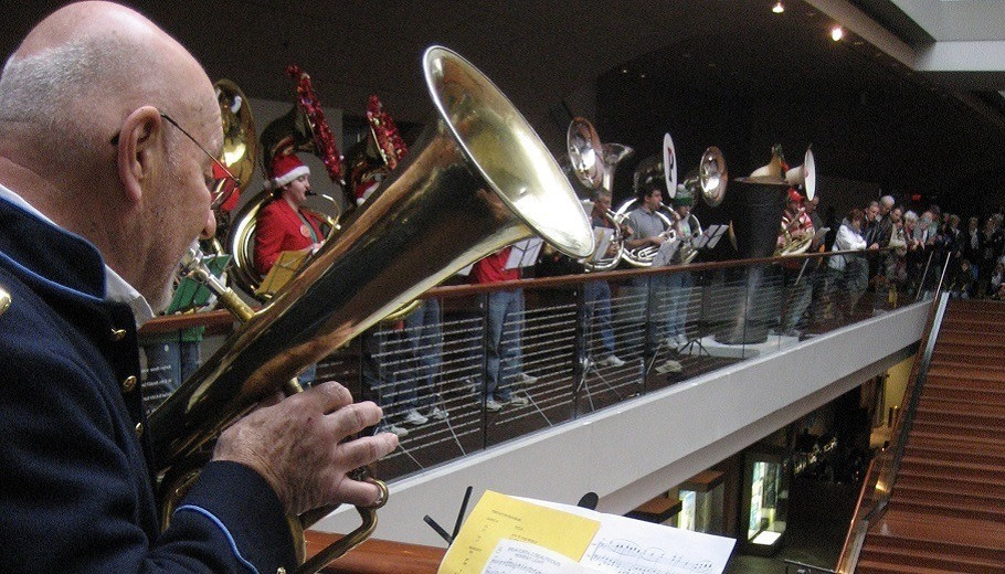 musician pictured playing a tuba