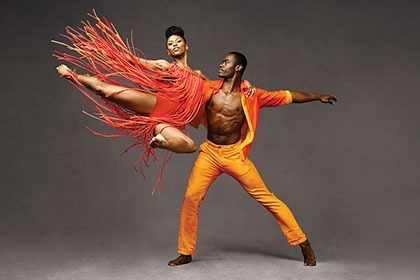 2 Dancers Actively Dancing and Posed from Alvin Ailey American Dance Theater