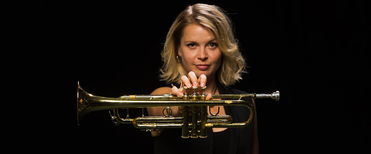 bria skonberg pictured with trumpet