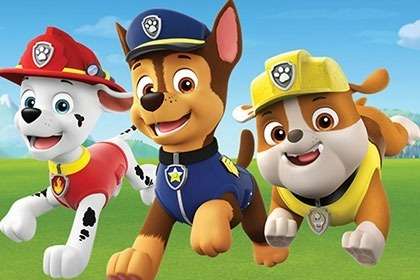 Graphic of three dogs from Paw Patrol