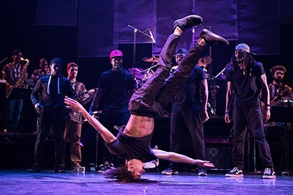 dancer posed on stage on his head while band watches in the background