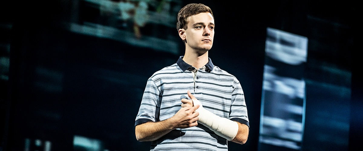 Stephen Christopher Anthony as 'Evan Hansen' in the North American touring company of DEAR EVAN HANSEN. Photo by Matthew Murphy, 2019