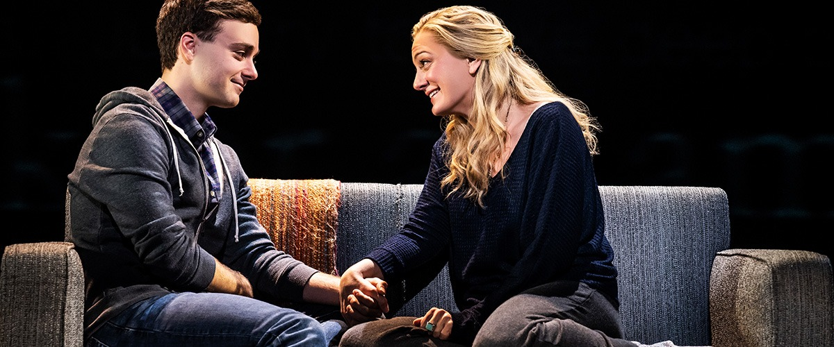 Stephen Christopher Anthony as 'Evan Hansen' and Jessica E. Sherman as 'Heidi Hansen.' Photo by Matthew Murphy. 2019