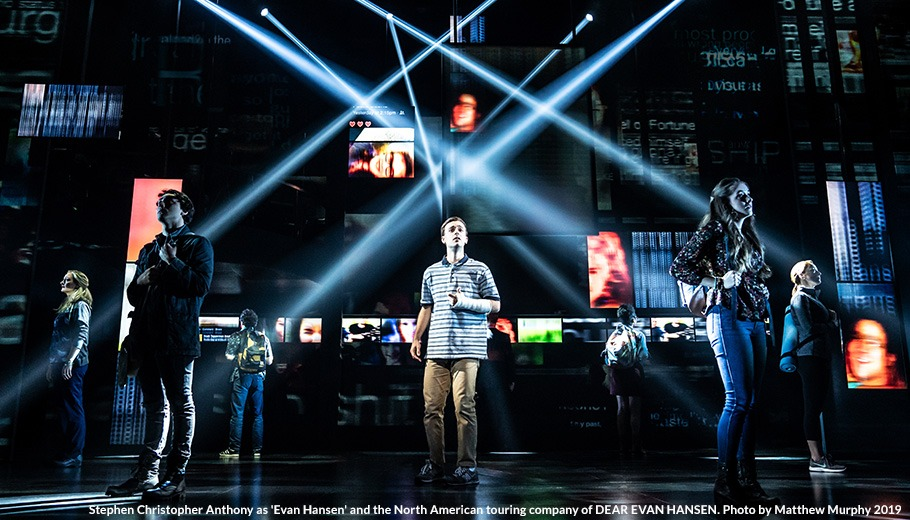 Stephen Christopher Anthony as 'Evan Hansen' and the North American touring company of DEAR EVAN HANSEN. Photo by Matthew Murphy, 2019