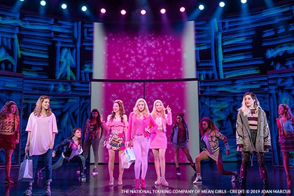 Danielle Wade (Cady Heron), Megan Masako Haley (Gretchen Wieners), Mariah Rose Faith (Regina George), Jonalyn Saxer (Karen Smith), Mary Kate Morrissey (Janis Sarkisian), and the National Touring Company of Mean Girls Credit: © 2019 Joan Marcus