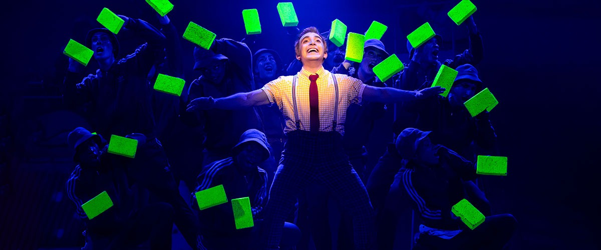 Lorenzo Pugliese as SpongeBob SquarePants and The Company of The SpongeBob Musical - Photo by Jeremy Daniel ©