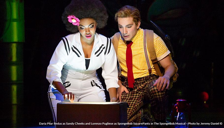 Daria Pilar Redus as Sandy Cheeks and Lorenzo Pugliese as SpongeBob SquarePants in The SpongeBob Musical Photo by Jeremy Daniel