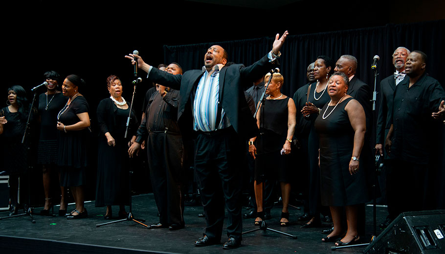 Gospel Group Performs on stage at the Kimmel Center Plaza