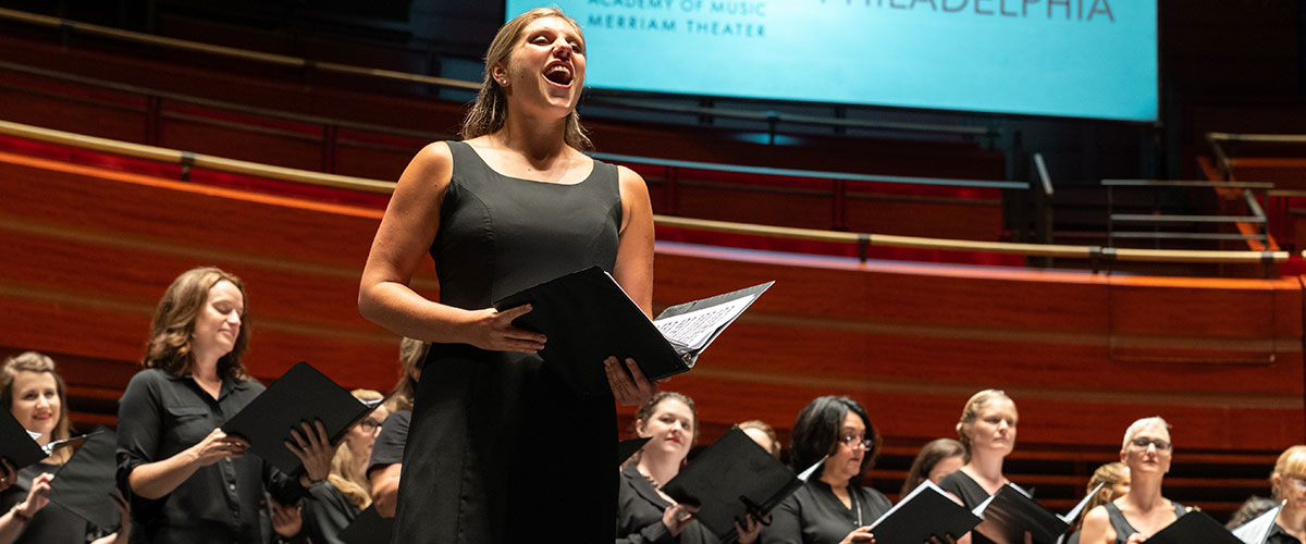 A choir performs with Organ at the Kimmel Center