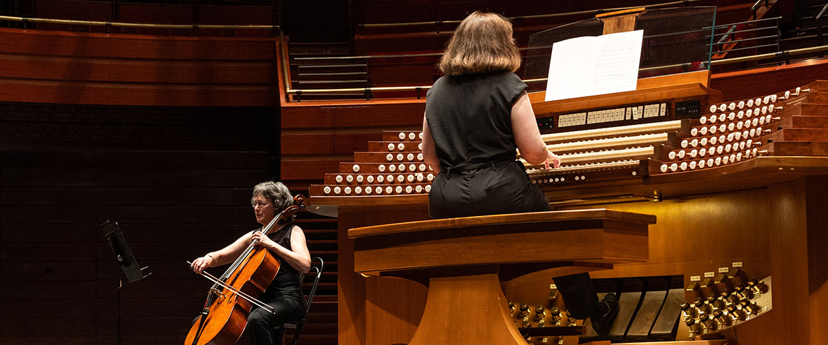 A cellist performs with Organ at the Kimmel Center