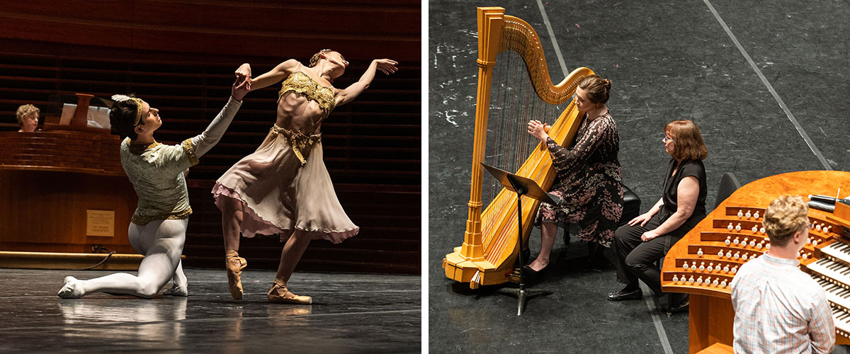 Dancers and harpist performs with Organ at the Kimmel Center