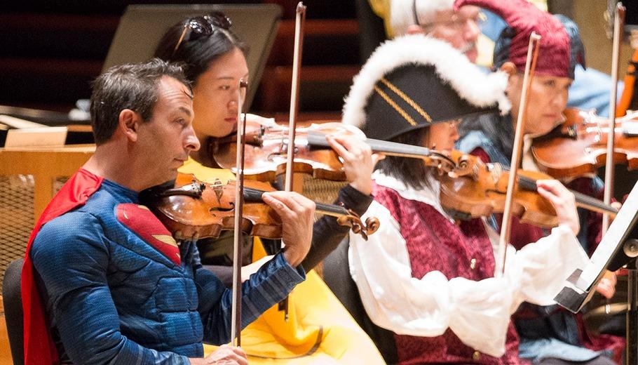 Costumed musicians