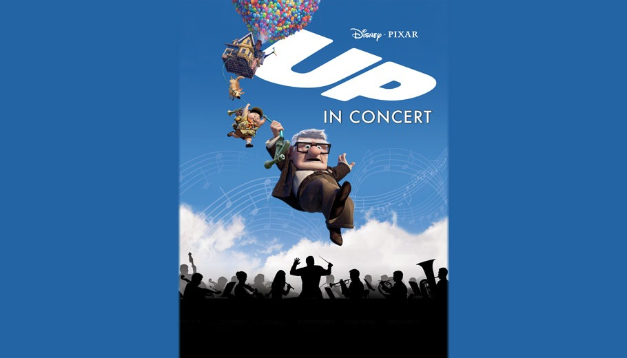 Up in Concert poster with balloons carrying a house, dog, child, and elderly man