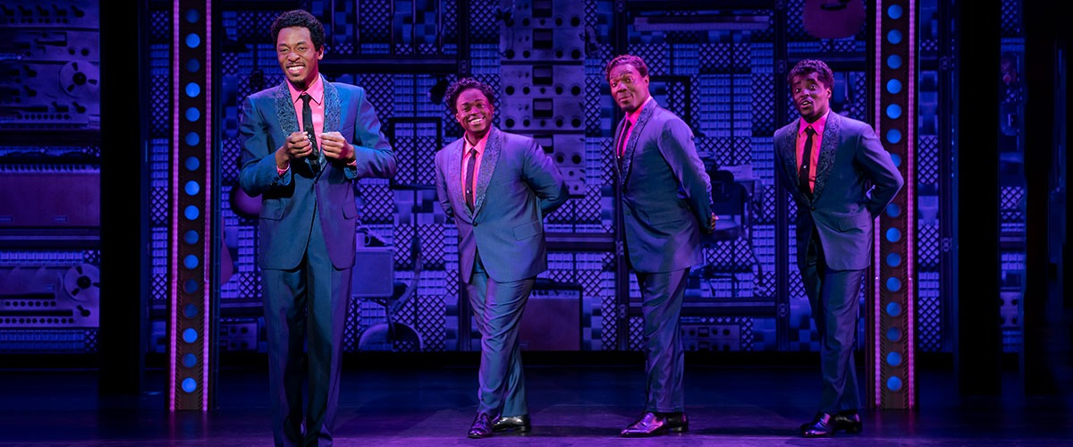 The Drifters. (l to r) Torrey Linder, Edwin Bates, Isaiah Bailey and Ben Toomer. Photo by Joan Marcus.
