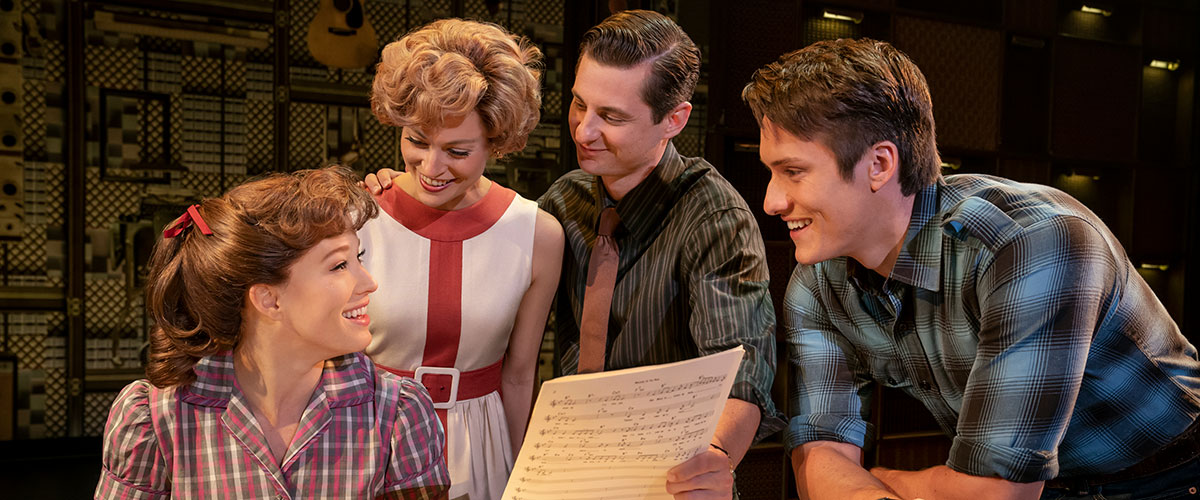 "Four Friends. (l to r) Kennedy Caughell (""Carole King""), Kathryn Boswell (""Cynthia Weil""), James Michael Lambert (""Barry Mann"") and James D. Gish (""Gerry Goffin""). Photo by Joan Marcus."