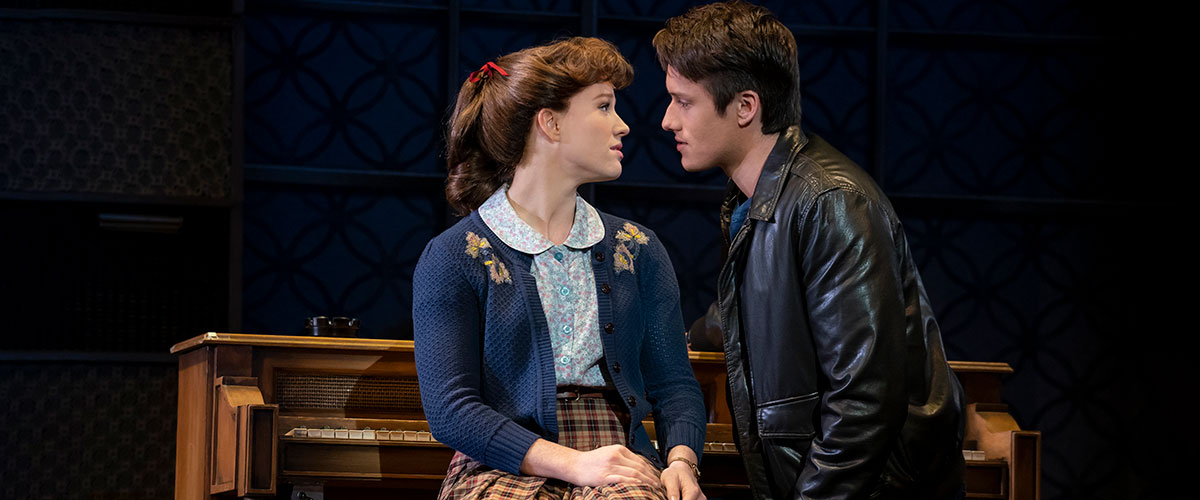 "Queens College. Kennedy Caughell (""Carole King"") and James D. Gish (""Gerry Goffin""). Photo by Joan Marcus."