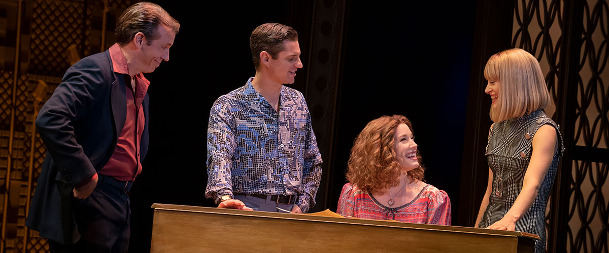 "You've Got a Friend. (l to r) Matt Loehr (""Don Kirshner""), James Michael Lambert (""Barry Mann""), Kennedy Caughell (""Carole King"") and Kathryn Boswell (""Cynthia Weil""). Photo by Joan Marcus."