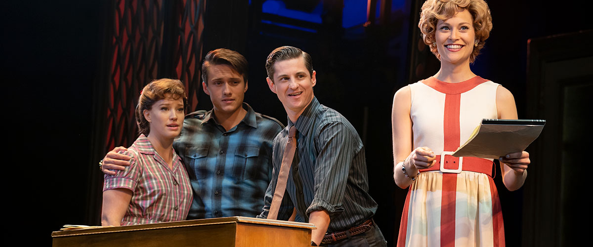 "He's Sure the Boy I Love. (l to r) Kennedy Caughell (""Carole King""), James D. Gish (""Gerry Goffin""), James Michael Lambert (""Barry Mann"") and Kathryn Boswell (""Cynthia Weil""). Photo by Joan Marcus."