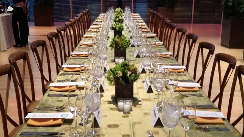 A table is set for a dinner held in the Hamilton Garden.