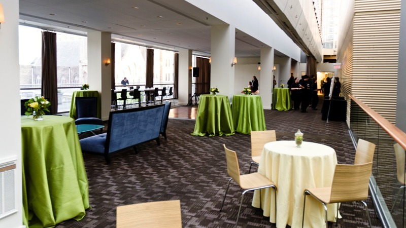 The Lounge is also used for more casual receptions, with standing tables and a few chairs.