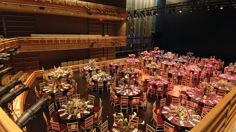 The Perelman Theater is one of our many unique venues, and is able to lower its seats to make room for special events.