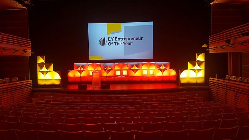 The Perelman Theater stage is set for the EY Entrepreneur Of The Year Awards gala.