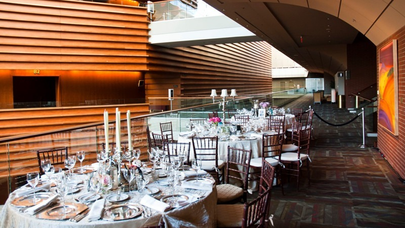 Guests who prefer eating indoors can be seated against the railing, which offers a beautiful view of the Kimmel Center.