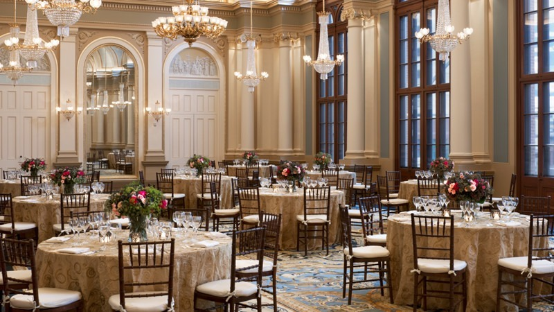 The Academy of Music Ballroom boasts classical interior designs and luxurious indulgences.