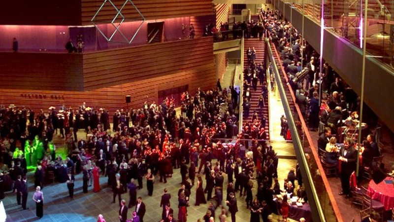 Convention-goers fill all three levels of the Kimmel Center.