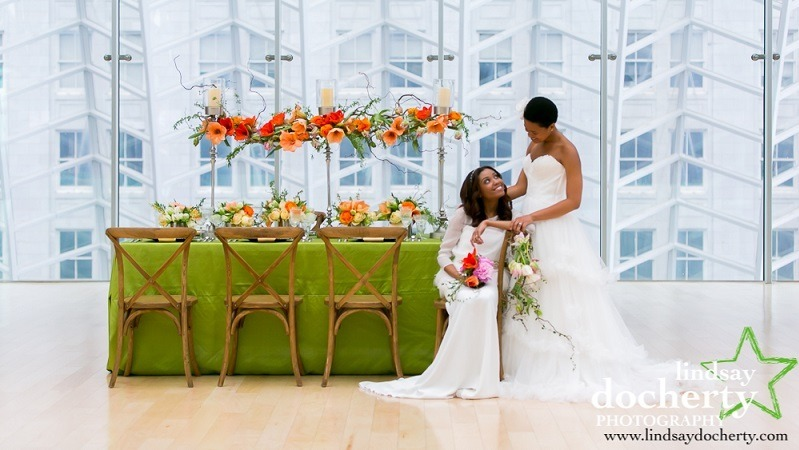A newlywed couple in one of the Kimmel Center's unique venues.