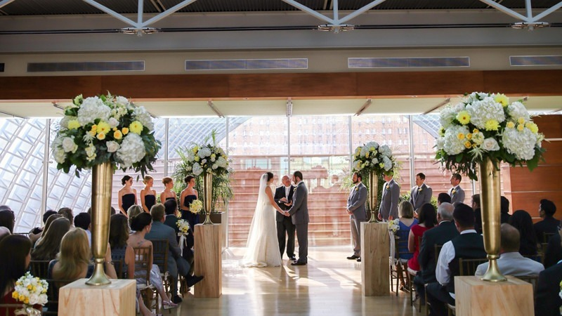 A spectacular rooftop venue features a glass box structure that gives an amazing view of the Philadelphia skyline