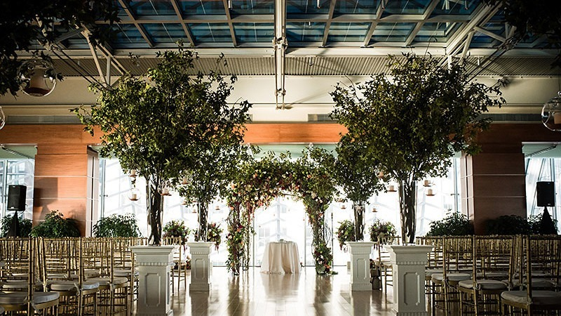 A unique nature theme lines the walls and aisle for a wedding.