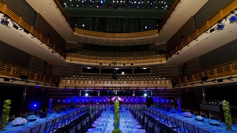 The Perelman Theater transforms into an elegant and unique venue for a wedding reception.