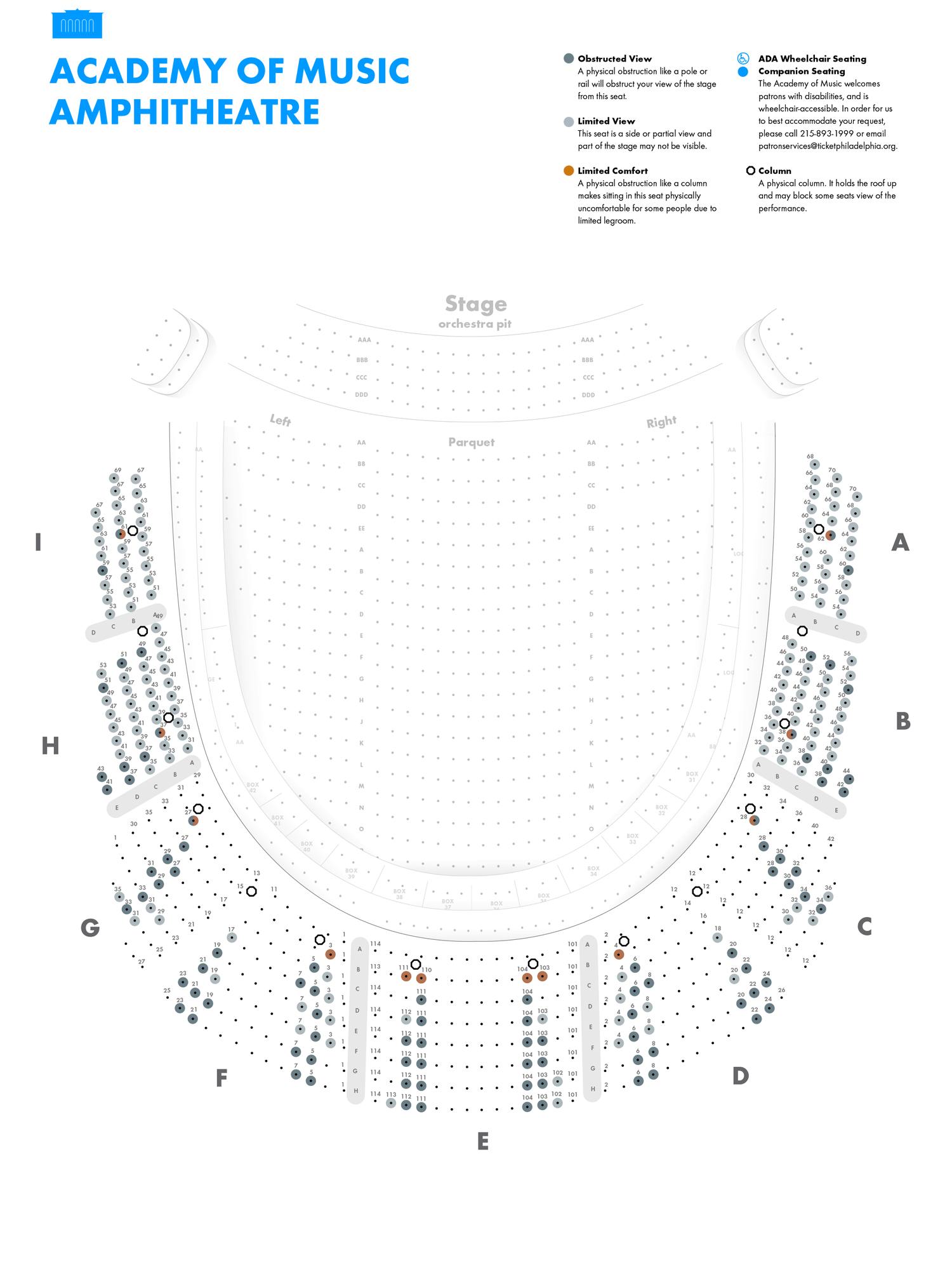Academy of Music - Amphitheater - Seating Chart