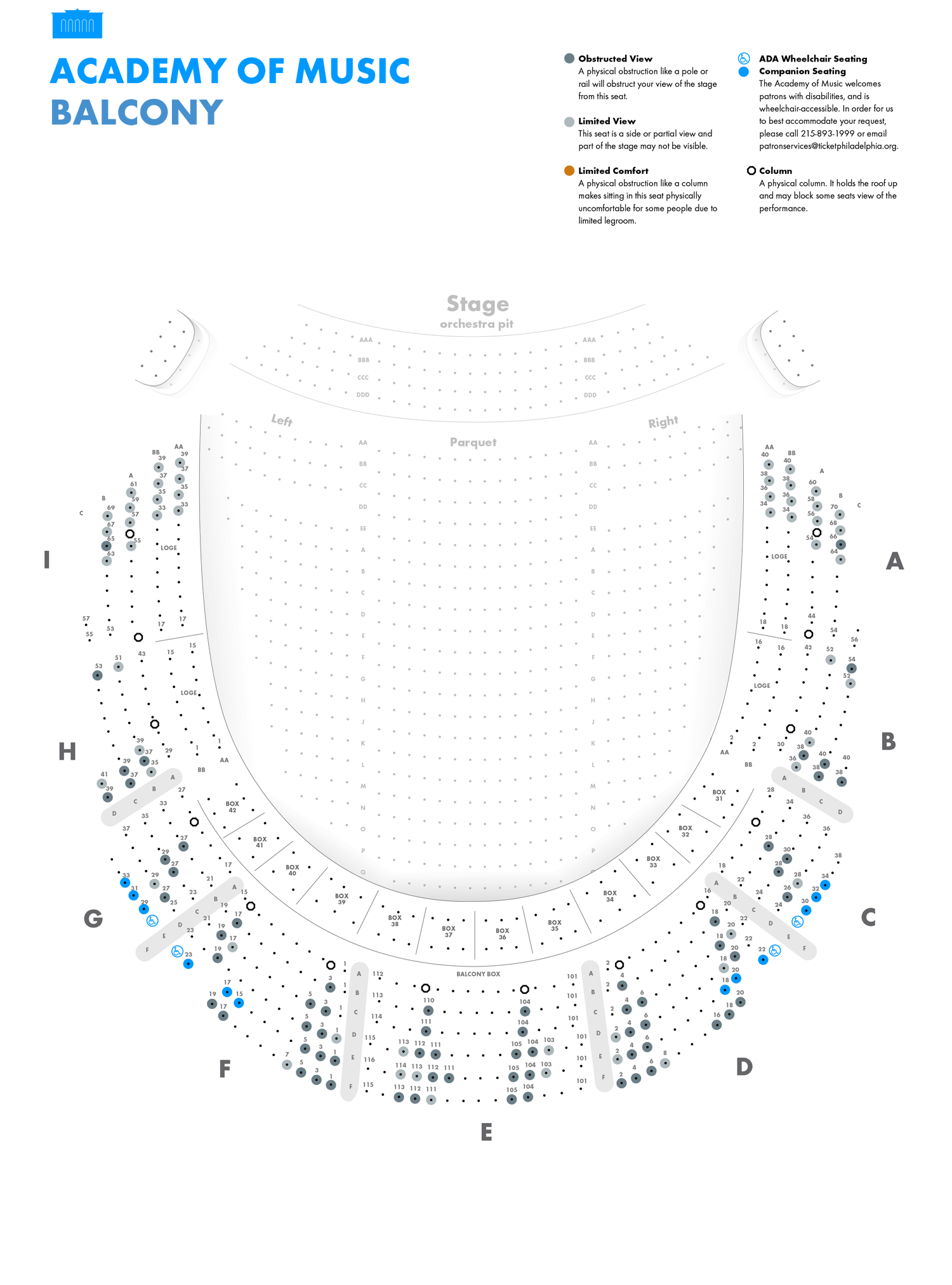 Academy of Music Broadway Balcony  Seating Chart