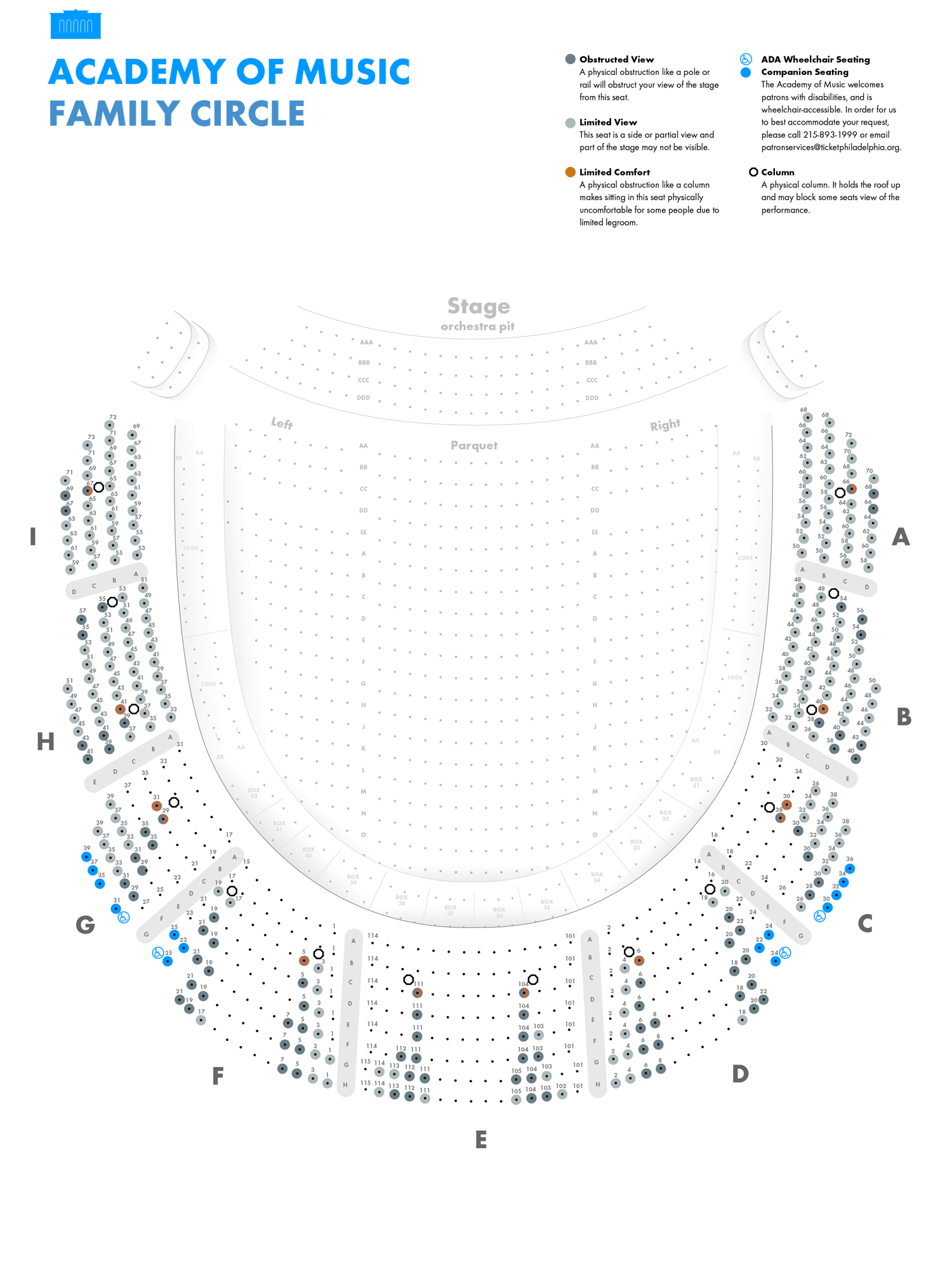 Academy of Music - Family Circle - Seating Chart