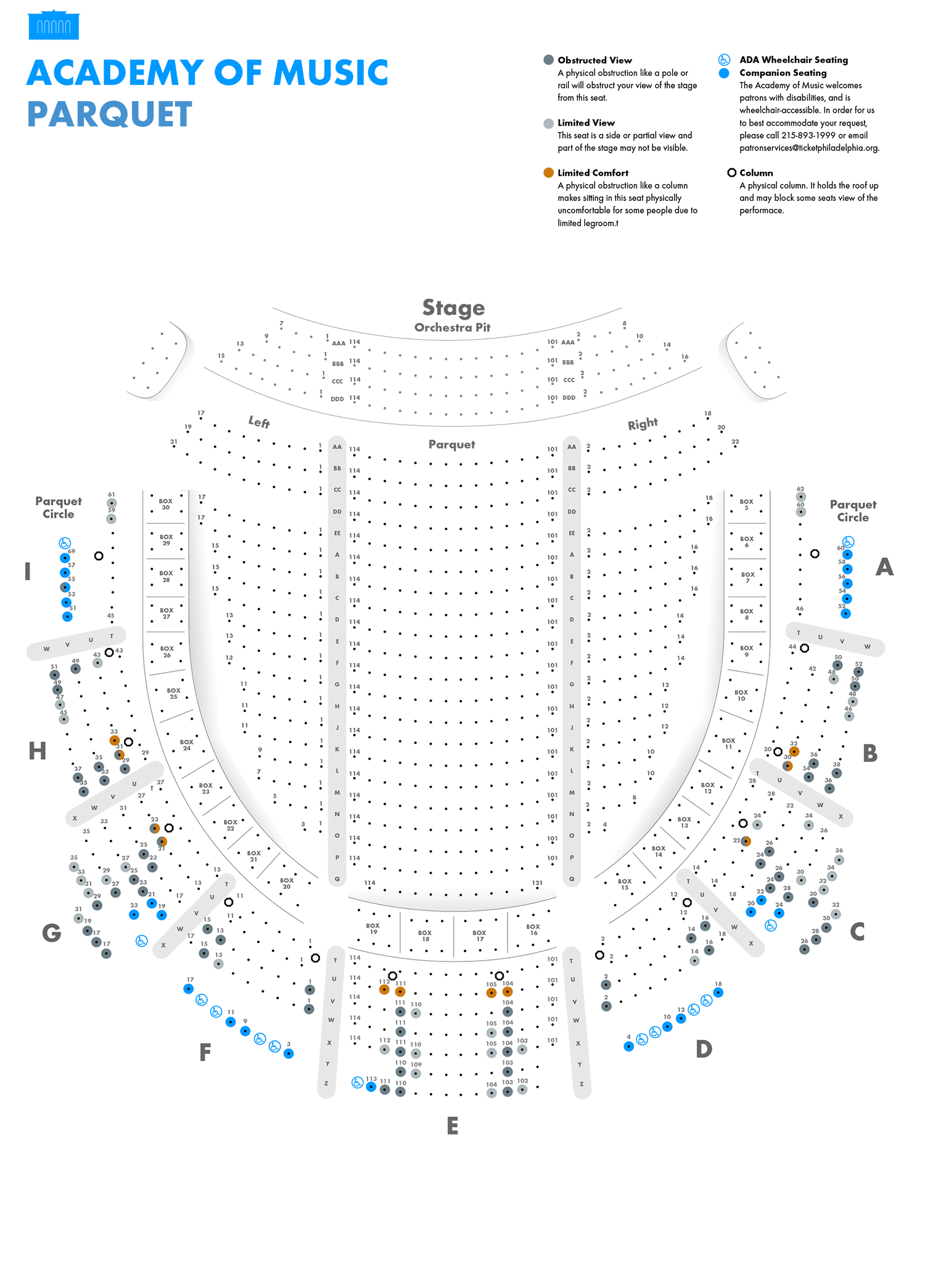 Academy Of Music Parquet Seating Chart