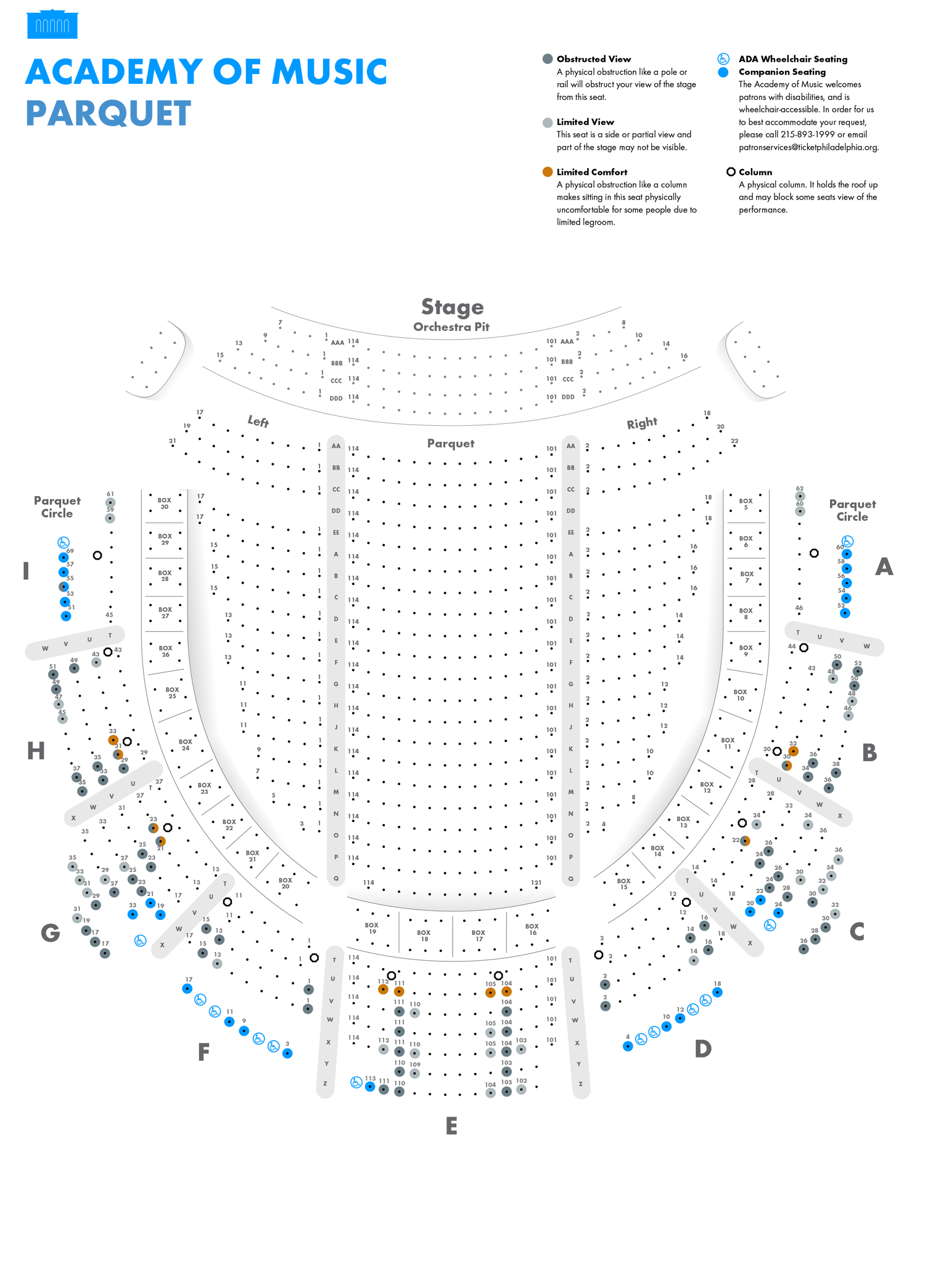 Academy of Music - Parquet - Seating Chart