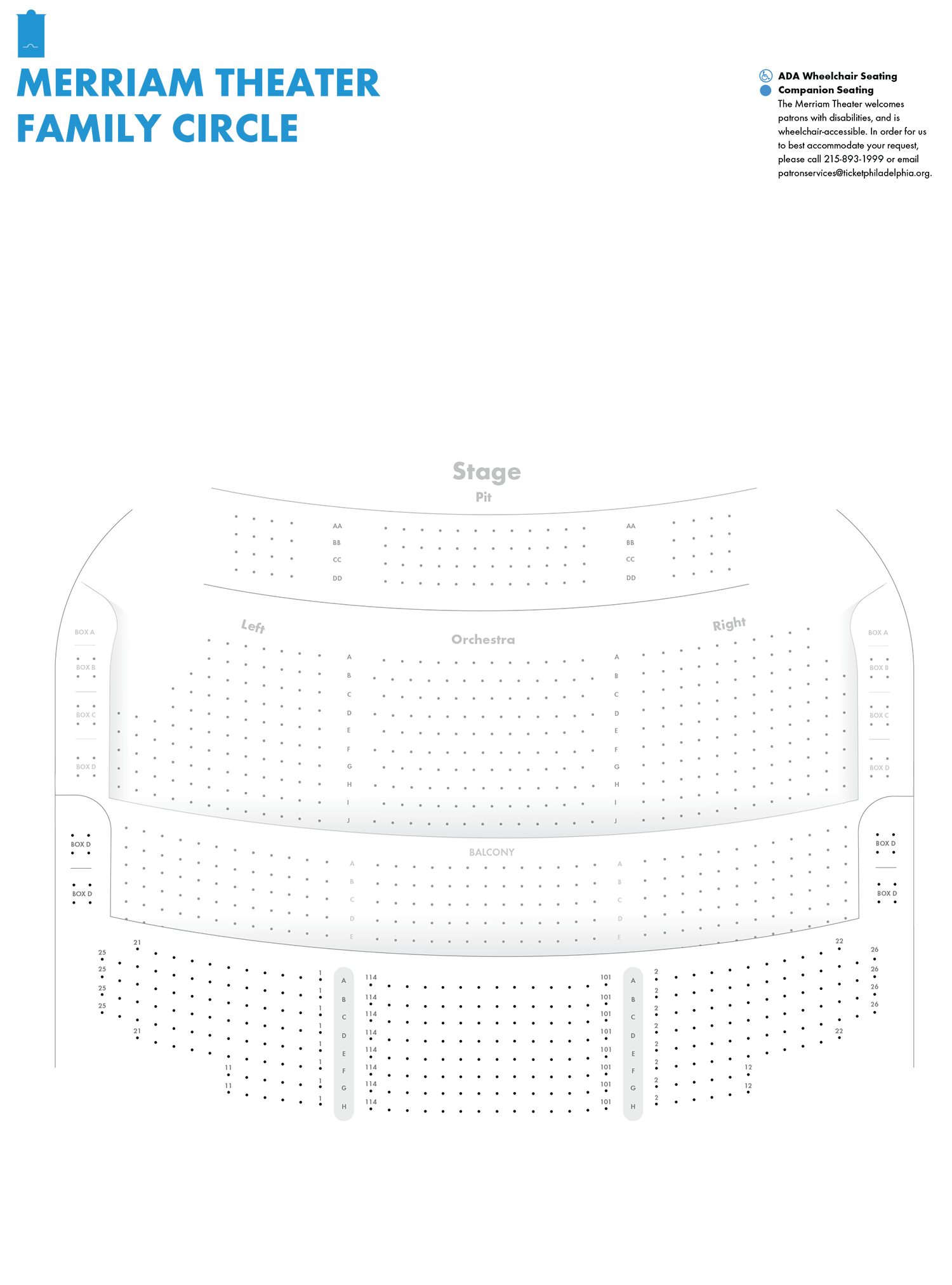 Merriam Theater Family Circle Seating Chart